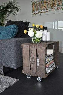 A side table on wheels for the living room