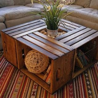 A brilliant coffee table made from multiple crates